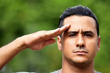 Saluting Civilian Adult Hispanic Male