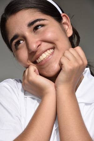 Daydreaming Cute Colombian Female Stock Photo