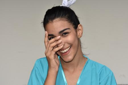 Cute Female Nurse And Shyness Stock Photo