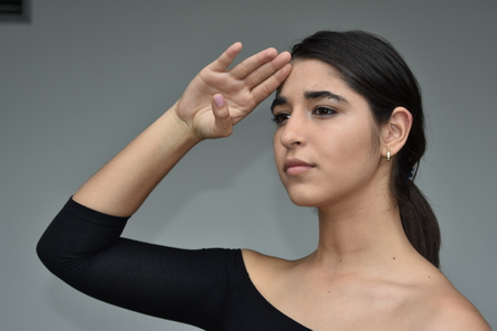 Colombian Female Saluting