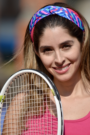Athlete Colombian Girl Tennis Player And Happiness With Tennis Racket