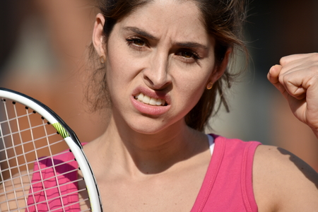 Angry Athlete Colombian Female Tennis Player Woman Wearing Sportswear