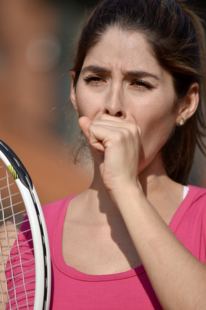 Athlete Colombian Female Tennis Player Coughing Stock Photo