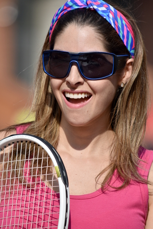 Female Adult And Happiness Wearing Sportswear