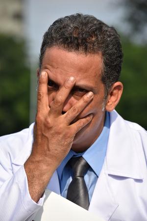 Insane Male Surgeon Wearing Lab Coat