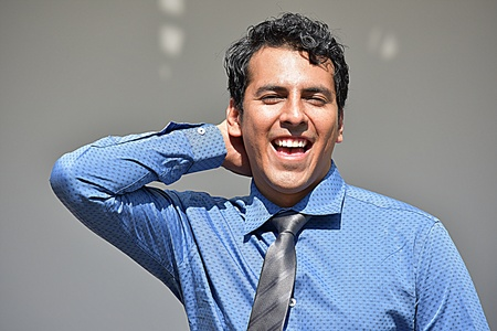 Happy Adult Businessman Wearing Tie Stock Photo