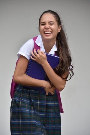 Laughing Colombian Student Teenager School Girl