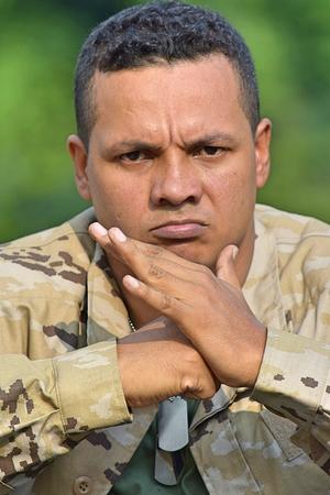 Upset Latino Male Soldier