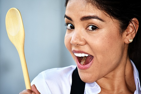 Excited Smiling Adult Female Chef