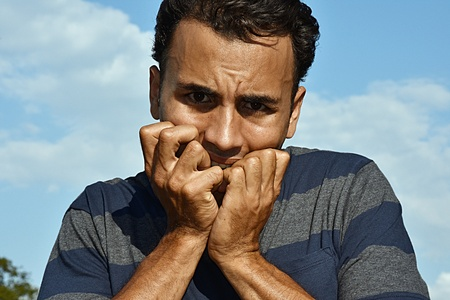 Hispanic Male And Fear Stock Photo