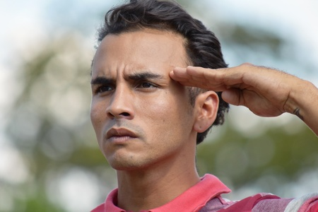 Young Male Saluting