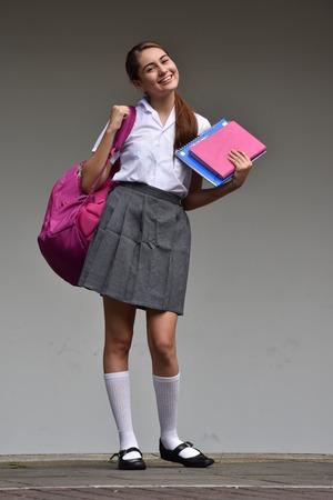Beautiful Student Teenager School Girl While Standing