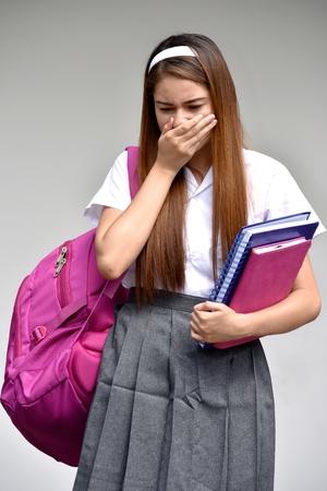 Ashamed Student Teenager School Girl With Books