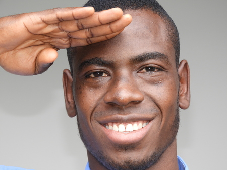 Unshaven Black Male Saluting