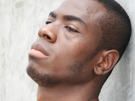 Depressed African Male Stock Photo