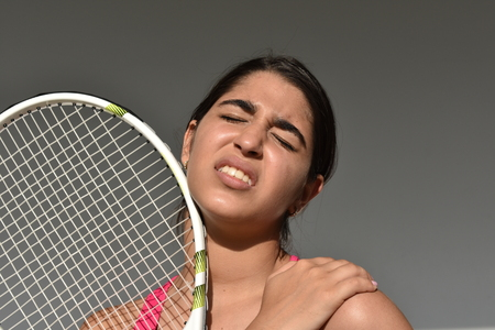 Injured Shoulder Girl Teenager Tennis Player