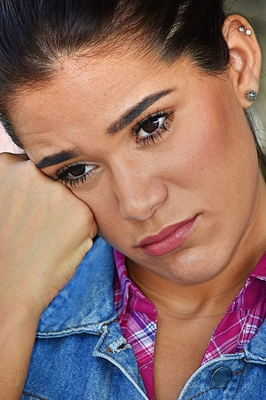 Depressed Young Female Woman Stock Photo