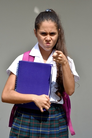 Mad Girl Student With Notebook