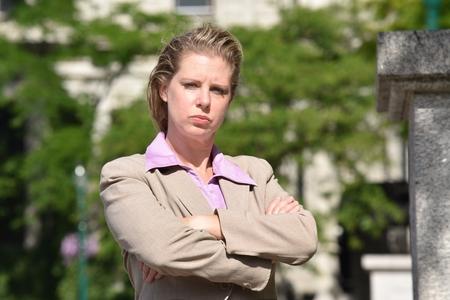 Stubborn Business Woman Wearing Suit