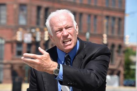 Angry Adult Senior Business Man