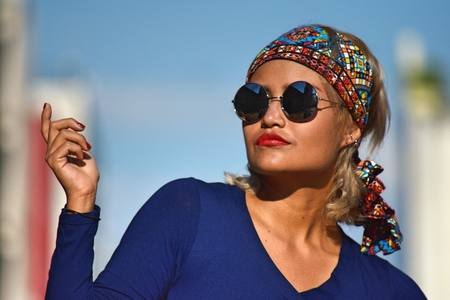 Female And Beauty Wearing Sunglasses Stok Fotoğraf