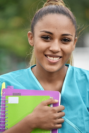 Smiling Teen Hispanic Female Nursing Student 写真素材