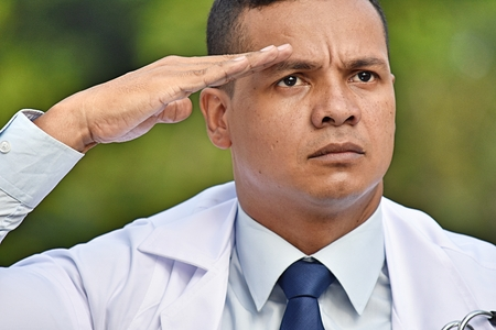 Civilian Male Doctor Saluting