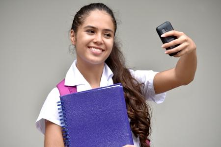 Selfy Of Girl Student Wearing School Uniform