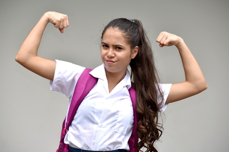 Strong Catholic Person Wearing School Uniform Stock Photo