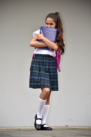 Shy Catholic Colombian Student Teenager School Girl Wearing School Uniform