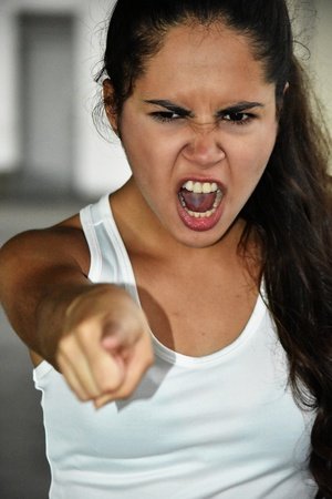 Cute Teenage Female And Anger Standard-Bild