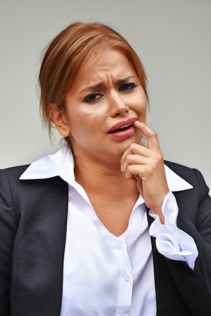 Business Woman With Toothache Wearing Suit Stock Photo