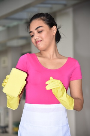 Young Minority Girl Cleaning Stock fotó