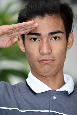 Asian Male Saluting