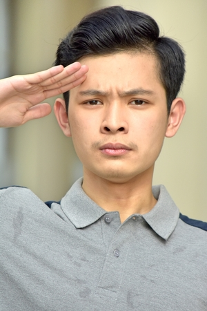 Chinese Male Saluting