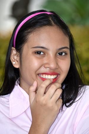 Beautiful Diverse Female And Shyness Stock Photo