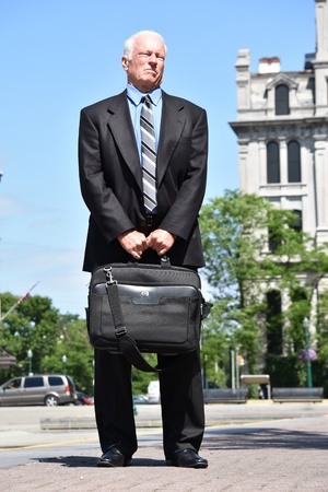 Serious Adult Business Man Wearing Business Suit Standing