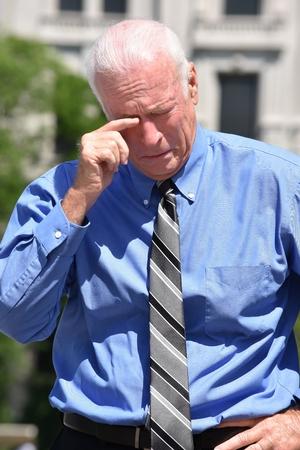 Adult Senior Investor And Depression Stock Photo