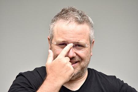 Intelligent White Person Wearing Glasses Stock fotó