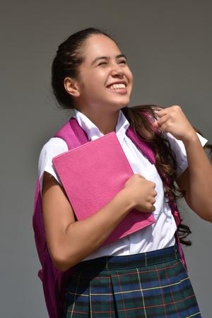 Overjoyed Catholic Colombian Student Teenager School Girl Wearing Uniform