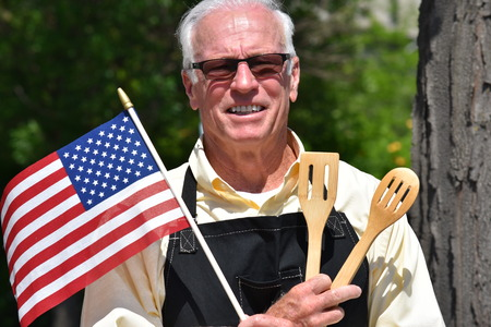 Male Cook Independence Day Stock Photo