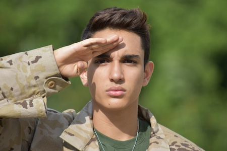Latino Male Soldier Saluting