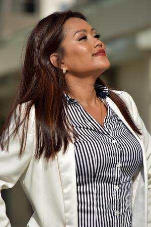 Business Woman Wondering Wearing Suit Stock Photo