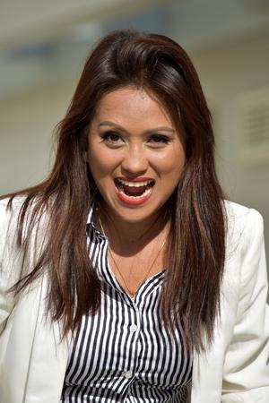 Overjoyed Beautiful Minority Business Woman Wearing Suit
