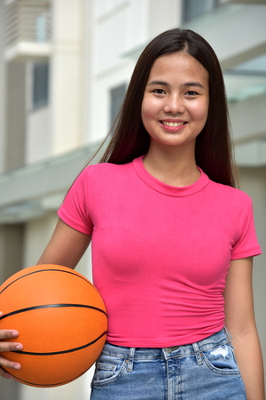 Fitness Minority Female Basketball Player And Happiness