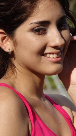 Pretty Peruvian Female And Happiness