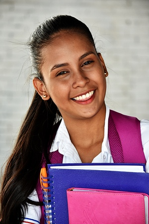 Smiling Diverse Teenage Girl Student