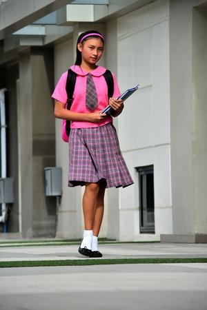 Smart Minority Person Wearing Uniform Walking On Campus Stock fotó