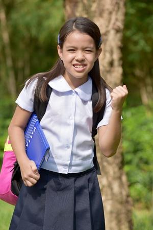 Stressful Minority Person Wearing School Uniform Stock Photo