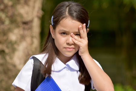 Shy Minority Child Girl Student Wearing School Uniform